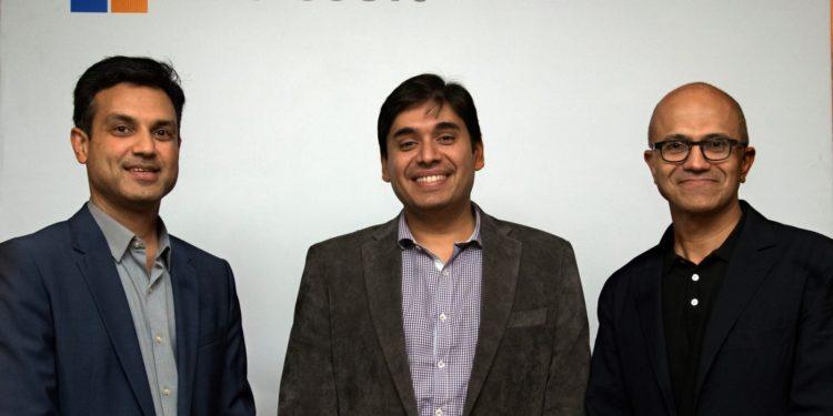 From L to R: Anant Maheshwari, President, Microsoft, India, Naveen Tewari, founder and CEO at InMobi, Satya Nadella, CEO, Microsoft